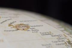 Detalhe macro do mapa do globo de Islândia Fotos de Stock