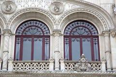 Detalhe na fachada da estação de trem de Rossio; Lisboa fotos de stock royalty free
