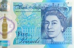 Detalhe novo da nota de cinco libras Foto de Stock Royalty Free