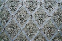 Detalhe ornamentado preto da porta Foto de Stock
