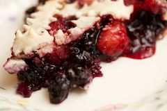 Detalhe próximo da distância do macro de única sobremesa Berry Pie da fatia imagem de stock royalty free