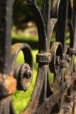 Detalhe preto da cerca do ferro Fotos de Stock