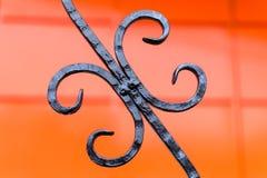 Detalhe preto dos trilhos do metal do ferro fundido Fotografia de Stock