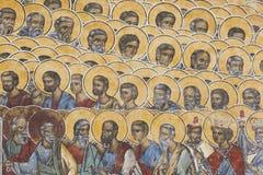 Detalhe religioso pintado da parede no monastério de Voronet Foto de Stock
