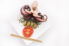 Detalhe saudável do alimento de mar - polvo Fotografia de Stock