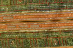 Detalhe tradicional de matéria têxtil do traje das mulheres pretas da minoria de Miao Cidade de Sapa, ao noroeste de Vietname ½ d Imagem de Stock