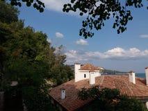 Detalhe velho do castelo de rainha Maria em Balchik, Bulgária Imagens de Stock