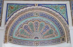 Detalhe velho do ornamento no la Baía de Palais de (Bahia Palace), Marra Imagem de Stock