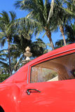 Detalhe vermelho 01 da porta de ferrari 250 GT dos anos 50 Fotografia de Stock
