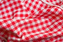 Detalhe vermelho do close up de pano do piquenique Imagens de Stock Royalty Free