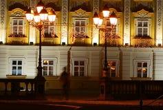 Detalhes arquitectónicos em a noite Foto de Stock