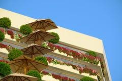 Detalhes arquitetónicos de hotel real da praia de Isrotel em Eilat Imagens de Stock Royalty Free