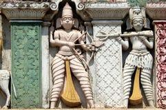 Detalhes arquitetónicos do balaji hindu do deus das pessoas de 200 anos de templo venkateswar Gopuram, a entrada Imagens de Stock