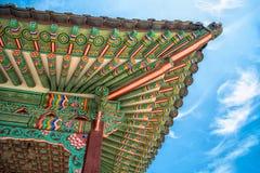 Detalhes coloridos do telhado de palácio de Changdeokgung Fotos de Stock Royalty Free