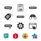 Detalhes com seta Mais símbolo e cursor ilustração do vetor