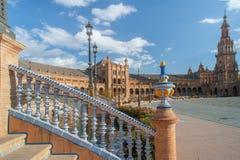 Detalhes da arquitetura de Plaza de Espana em Sevilha Fotos de Stock Royalty Free
