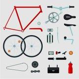 Detalhes da bicicleta Isolado nas peças brancas da bicicleta ilustração royalty free