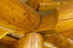 Detalhes da construção do canto da construção de log Imagem de Stock