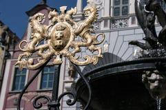Detalhes da fonte de Neptunes em Gdansk foto de stock royalty free