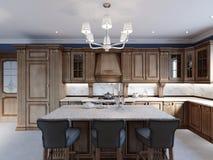 Detalhes da ilha de cozinha da mobília da cereja e cadeiras da barra ilustração stock