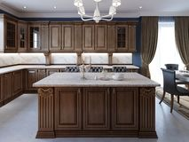 Detalhes da ilha de cozinha da mobília da cereja e cadeiras da barra ilustração do vetor