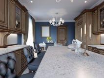 Detalhes da ilha de cozinha da mobília da cereja e cadeiras da barra ilustração royalty free