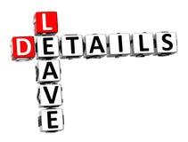 detalhes da licença das palavras cruzadas 3D no fundo branco Fotografia de Stock Royalty Free