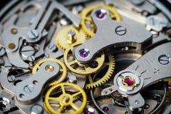 Detalhes da peça do relógio do vintage de movimento do cronógrafo Imagens de Stock