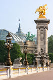 Detalhes da ponte de Pont Alexandre III e Palais grande Paris, Fra Imagem de Stock Royalty Free