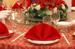 Detalhes da tabela de banquete do casamento Imagem de Stock Royalty Free