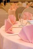 Detalhes da tabela de banquete do casamento Fotografia de Stock Royalty Free