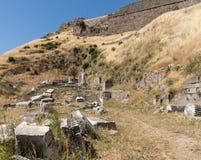 Detalhes das ruínas velhas em Pergamum fotos de stock