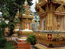 Detalhes de belas artes no templo budista fotografia de stock royalty free