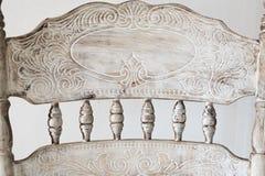 Detalhes de cadeira cinzelada antiga fotografia de stock