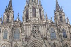 Detalhes de catedral de Barcelona no quarto gótico, Espanha imagens de stock royalty free