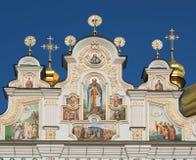 Detalhes de catedral do Dormition em Kyiv Pechersk Lavra fotografia de stock