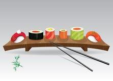 Detalhes de culinária japonesa - ingredientes, peixes, chopsticks e placa do sushi. Ilustração do vetor ilustração stock
