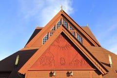 Detalhes de Kiruna Church no verão com céu azul, Suécia do norte foto de stock royalty free