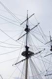Detalhes de mastros modernos do navio da vela moderna Foto de Stock Royalty Free