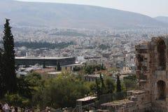 Detalhes de Odeon antigo do Atticus de Herodes em Atenas, Grécia no monte da acrópole Foto de Stock Royalty Free
