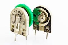 Detalhes de resistores variáveis, ajustador Imagens de Stock