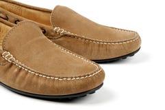 Detalhes de sapatas dos homens do couro de cabra-montesa Foto de Stock Royalty Free