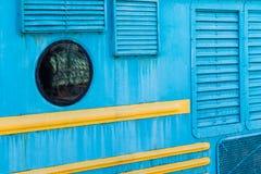Detalhes de um corpo locomotivo bonde velho Janela redonda, grito fotografia de stock royalty free