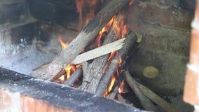 Detalhes de um fogo de madeira em uma chaminé do tijolo vermelho video estoque