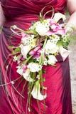 Detalhes de um vestido das noivas Imagens de Stock