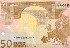 Detalhes de uma cédula de 50 euro Fotos de Stock Royalty Free