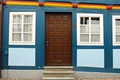 Detalhes de uma casa no centro de Hameln, em Alemanha imagens de stock