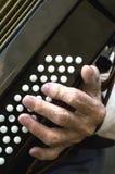 Detalhes de uma mão em um acordeão velho ao jogar fotos de stock royalty free