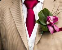 Detalhes de uma roupa dos noivos Fotos de Stock Royalty Free