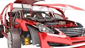 Detalhes do carro vermelho em um fundo que branco nenhuma sombra 3D não renda ilustração do vetor